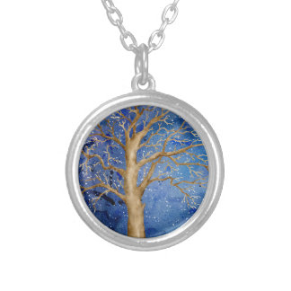 Watercolor Winter Oak Tree Silver Plated Necklace