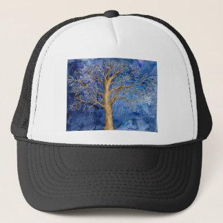 Watercolor Winter Oak Tree Trucker Hat