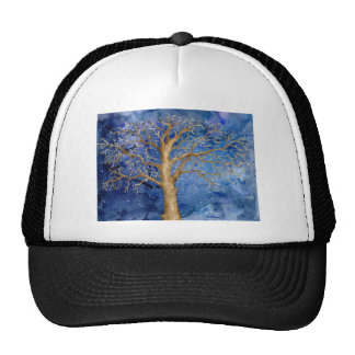 Watercolor Winter Oak Tree Trucker Hat