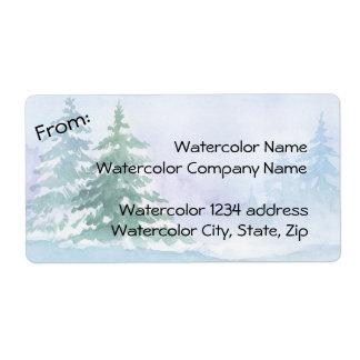 Watercolor Winter Pine Trees Address