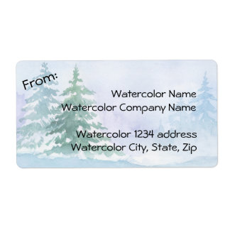 Watercolor Winter Pine Trees Address Shipping Label