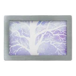 Watercolor winter tree in snow belt buckle