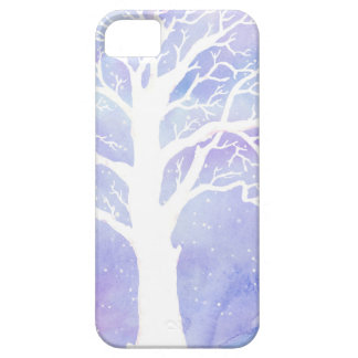 Watercolor winter tree in snow case for the iPhone 5