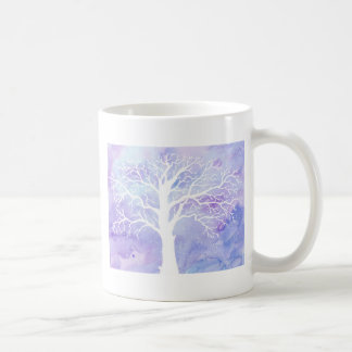Watercolor winter tree in snow coffee mug