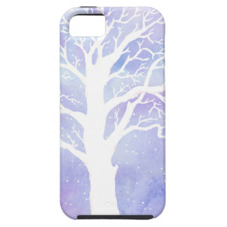 Watercolor winter tree in snow iPhone 5 case