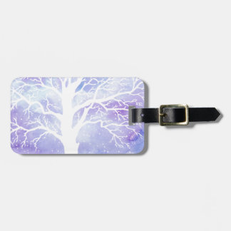 Watercolor winter tree in snow luggage tag