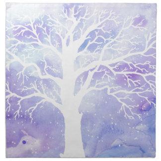 Watercolor winter tree in snow napkin