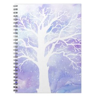 Watercolor winter tree in snow notebook