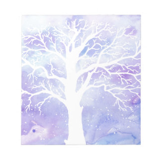 Watercolor winter tree in snow notepads