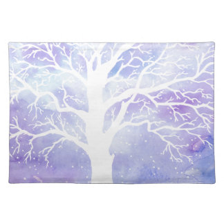 Watercolor winter tree in snow placemat