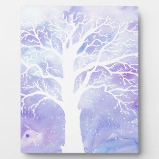 Watercolor winter tree in snow plaque