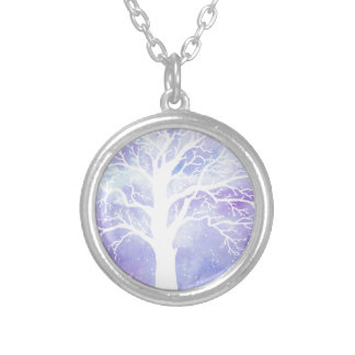 Watercolor winter tree in snow silver plated necklace