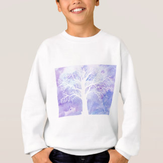 Watercolor winter tree in snow sweatshirt