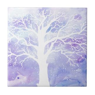 Watercolor winter tree in snow tile