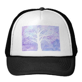Watercolor winter tree in snow trucker hat