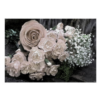 Watercolor Winter White Roses and Carnations Poster