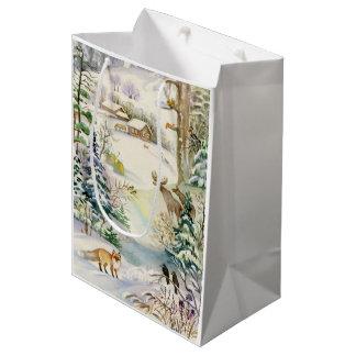 Watercolor Winter Wildlife Medium Gift Bag