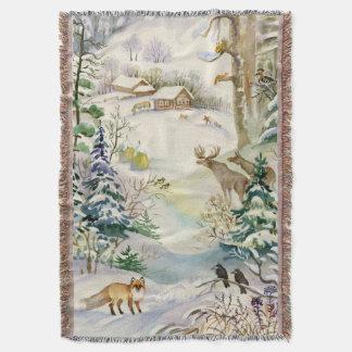 Watercolor Winter Wildlife Woven Throw Blanket