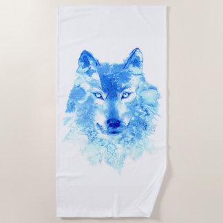 Watercolor Winter Wolf Beach Towel
