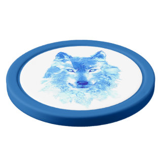 Watercolor Winter Wolf Clay Poker Chips