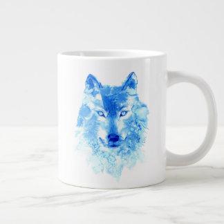 Watercolor Winter Wolf Jumbo Mug
