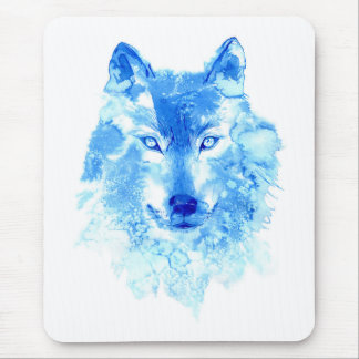 Watercolor Winter Wolf Mouse Pad