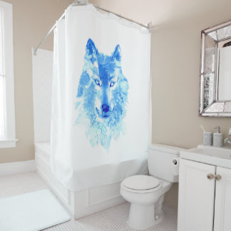 Watercolor Winter Wolf Shower Curtain