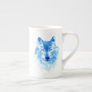 Watercolor Winter Wolf Tea Cup