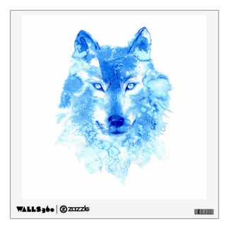 Watercolor Winter Wolf Wall Decal