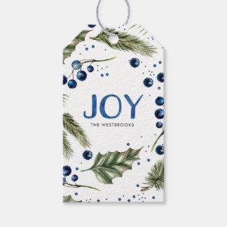 Watercolor Winter Wreath Joyous Christmas Gift Tags