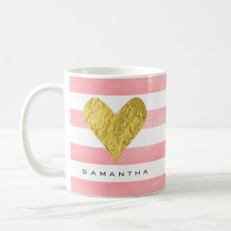 Watercolor with Gold Foil Heart Coffee Mug