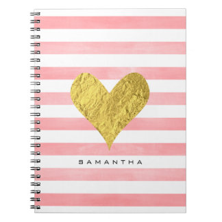 Watercolor with Gold Foil Heart Spiral Notebooks