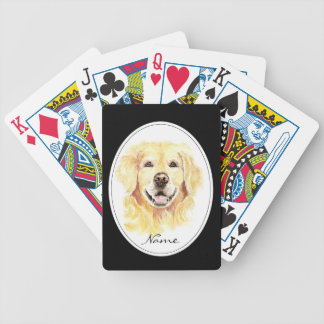 Watercolor with Golden Retriever custom Name Bicycle Playing Cards