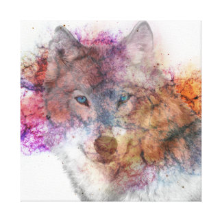 Watercolor - Wolf Canvas Print