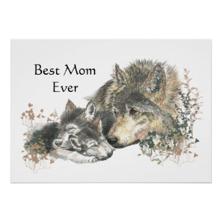 Watercolor Wolf & Cub Best Mom Ever Poster