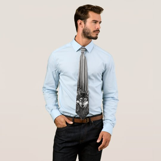 Watercolor Wolf in the Forest Wilderness Animal Tie