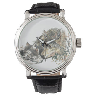 Watercolor Wolf Mom & Cub Animal Nature Art Watch