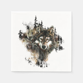 Watercolor Wolf Mountain Animal Nature art Paper Napkins