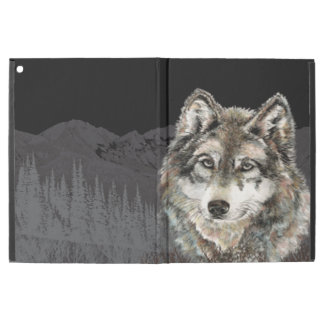 "Watercolor Wolf Mountain Head Wildlife Art iPad Pro 12.9"" Case"
