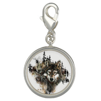Watercolor Wolf Mountain Wilderness art Charm