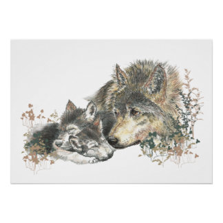 Watercolor  Wolf Parent & Cub Animal Art Poster