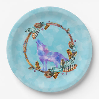 Watercolor Wolf Standing in a Boho Style Wreath 9 Inch Paper Plate