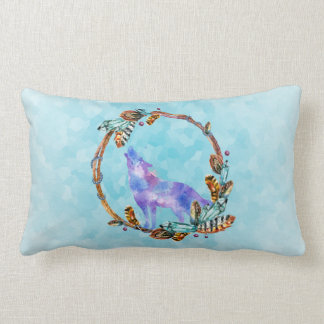 Watercolor Wolf Standing in a Boho Style Wreath Lumbar Pillow