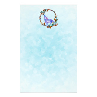 Watercolor Wolf Standing in a Boho Style Wreath Stationery