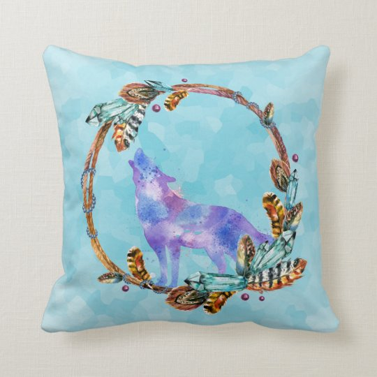 Watercolor Wolf Standing in a Boho Style Wreath Throw Pillow