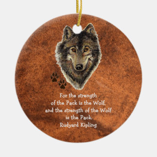 Watercolor Wolf Track Family Quote by Kipling Ceramic Ornament