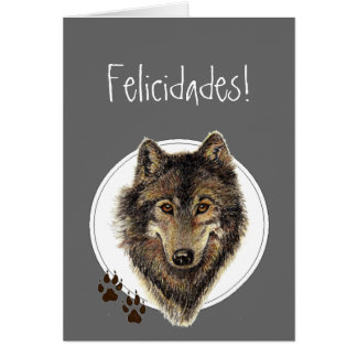 Watercolor Wolf Tracks Felicidades! Birthday Card