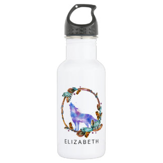 Watercolor Wolf with a Boho Style Wreath Custom 532 Ml Water Bottle