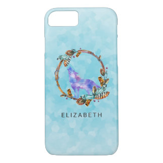 Watercolor Wolf with a Boho Style Wreath Custom iPhone 8/7 Case
