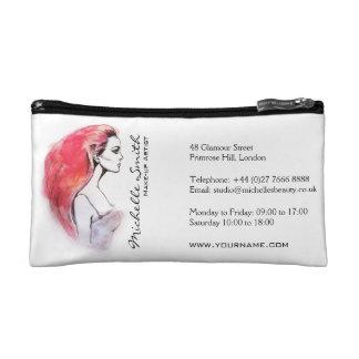 Watercolor woman portrait make up artist branding cosmetic bag
